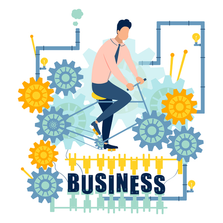 Businessman riding abstract business machine. Flat style. Cartoon vector illustration Reklamní fotografie