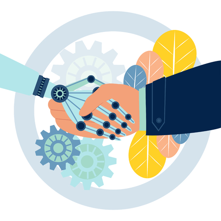 Mechanical human robot handshake . Business make deal metaphor in minimalistic flat style. Cartoon vector illustration