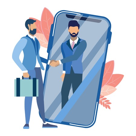 Handshake through smartphone. Business make deal metaphor in minimalistic flat style. Cartoon vector illustration