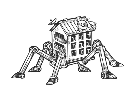 Fantastic fabulous house on spider legs engraving vector illustration. Scratch board style imitation. Black and white hand drawn image.