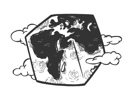 Cubic planet earth engraving vector illustration. Scratch board style imitation. Black and white hand drawn image.