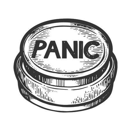 Panic button engraving vector illustration. Scratch board style imitation. Black and white hand drawn image.