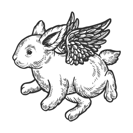 Angel flying baby little rabbit bunny engraving vector illustration. Scratch board style imitation. Black and white hand drawn image. Stock Photo
