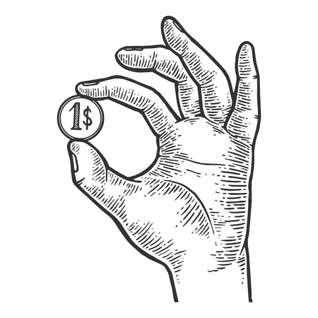 Hand with coin dollar vector illustration  イラスト・ベクター素材