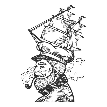 Captain man with sailing ship hat and smoking pipe engraving vector illustration. Scratch board style imitation. Black and white hand drawn image.