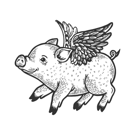 Angel flying baby little piggy engraving vector illustration. Scratch board style imitation. Black and white hand drawn image. Illustration