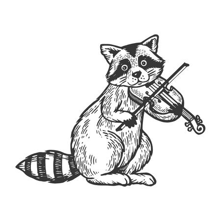 Mapache tocando el violín grabado ilustración vectorial. Imitación de tablero de rascar. Imagen dibujada a mano en blanco y negro.
