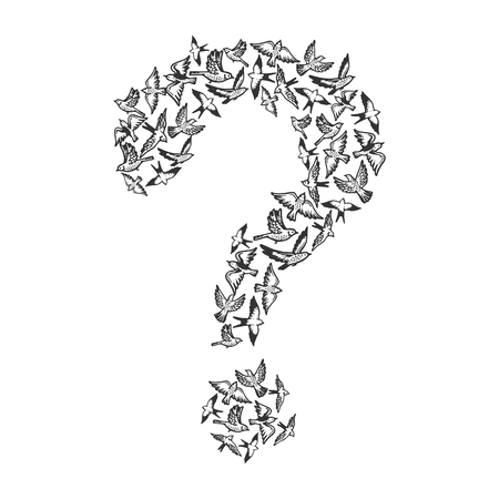 Birds flying in form of question mark engraving vector illustration. Scratch board style imitation. Black and white hand drawn image.