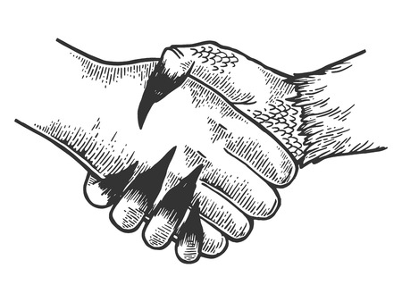 Death davil handshake engraving vector illustration. Scratch board style imitation. Black and white hand drawn image. 矢量图像
