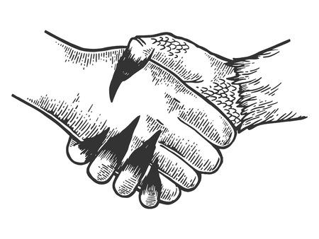 Death davil handshake engraving vector illustration. Scratch board style imitation. Black and white hand drawn image. Illustration