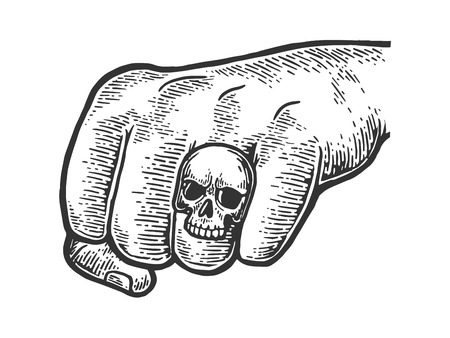 Fist with skull ring engraving vector illustration. Scratch board style imitation. Black and white hand drawn image.