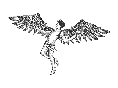 Icarus with mechanical wings Greek mythology engraving vector illustration. Scratch board style imitation. Black and white hand drawn image. Çizim