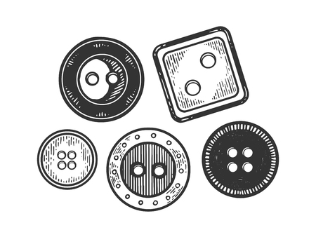 Clothing fashion button engraving vector illustration. Scratch board style imitation. Black and white hand drawn image.