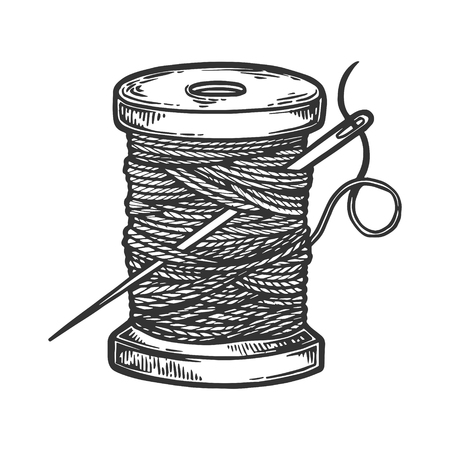 Szpula z nicią i igłą Grawerowanie ilustracji wektorowych. Imitacja stylu drapaka. Ręcznie rysowane obraz.