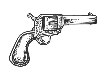 Vintage cowboy revolver hand gun engraving vector illustration. Scratch board style imitation. Black and white hand drawn image. Çizim