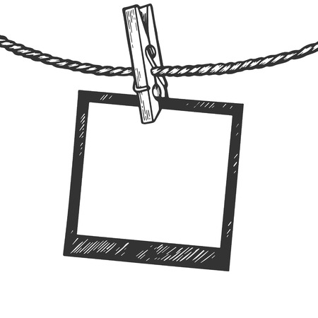 Photo blank frame pin on rope engraving vector illustration. Scratch board style imitation. Black and white hand drawn image.