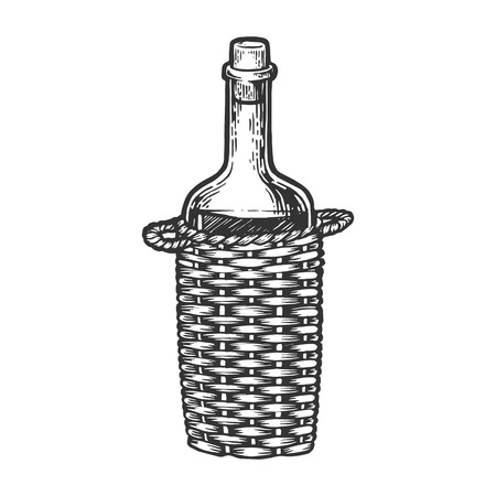 Wine bottle carboy with Basket weaving engraving vector illustration. Scratch board style imitation. Hand drawn image.