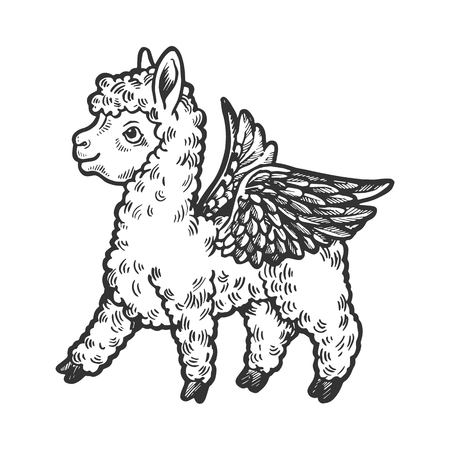 Angel flying baby little llama engraving vector illustration. Scratch board style imitation. Black and white hand drawn image. Illustration