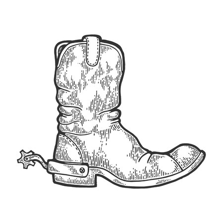 Cowboy boot with spur engraving vector illustration. Scratch board style imitation. Black and white hand drawn image.