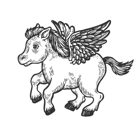 Angel flying baby little pony horse engraving vector illustration. Scratch board style imitation. Black and white hand drawn image. 스톡 콘텐츠 - 115557361