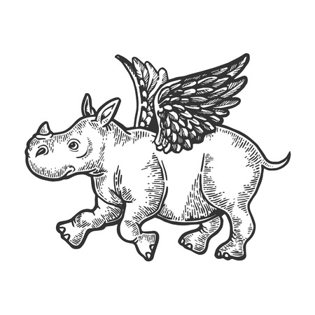 Angel flying baby little rhinoceros engraving vector illustration. Scratch board style imitation. Black and white hand drawn image.