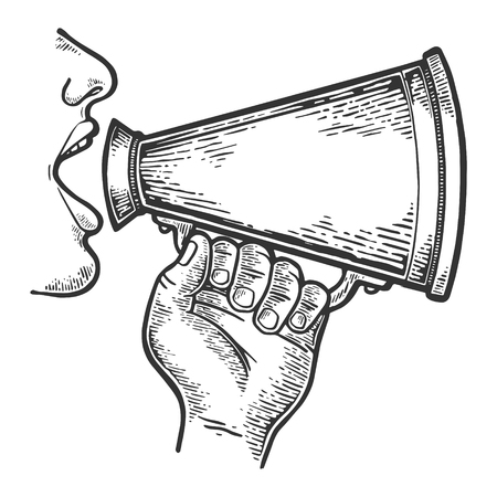 Man doing loudspeaker speech engraving vector illustration. Scratch board style imitation. Black and white hand drawn image. Vektoros illusztráció