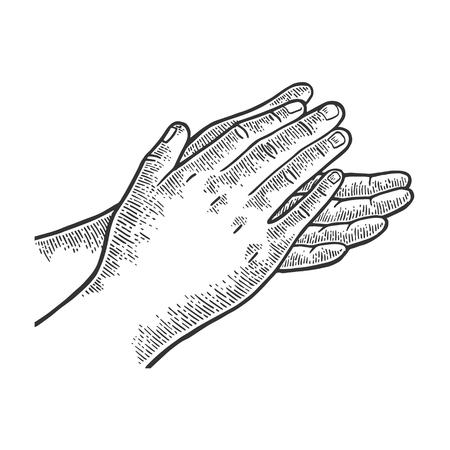 Aplausos aplaudiendo grabado ilustración vectorial. Imitación de tablero de rascar. Imagen dibujada a mano.