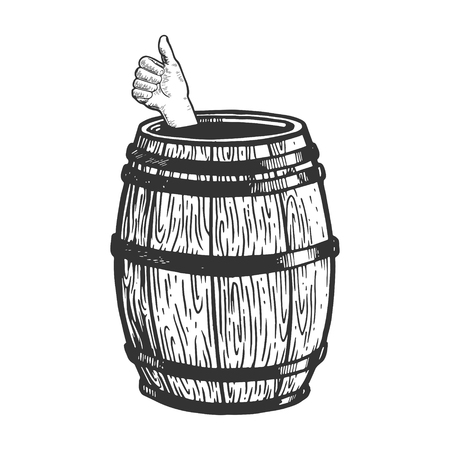 Thumb up in wine barrel engraving vector illustration. Scratch board style imitation. Black and white hand drawn image.