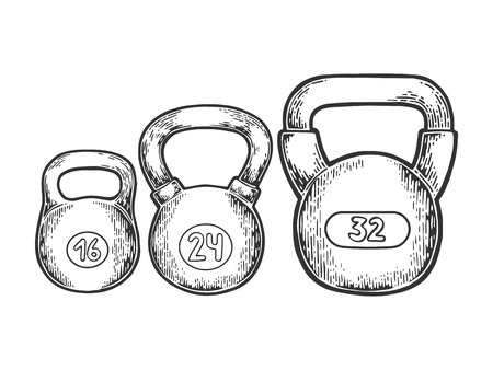 Sports weight dumbbell vector illustration. Scratch board style imitation. Hand drawn image.