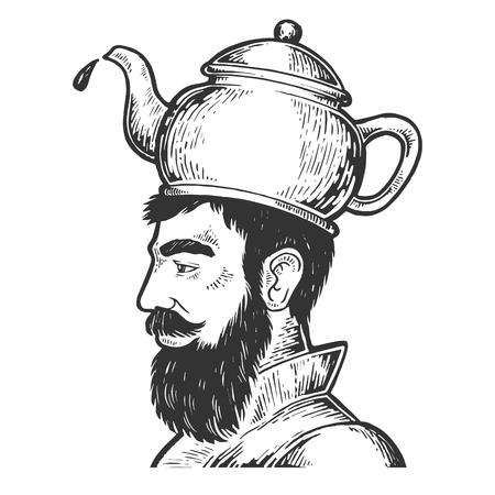 Man with boiling kettle teapot hat engraving vector illustration. Scratch board style imitation. Hand drawn image.