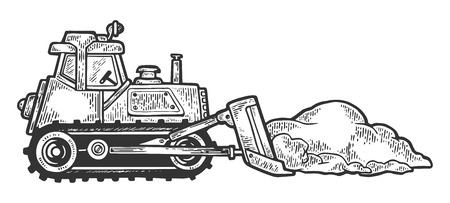 Bulldozer shove snow engraving vector illustration. Scratch board style imitation. Black and white hand drawn image.