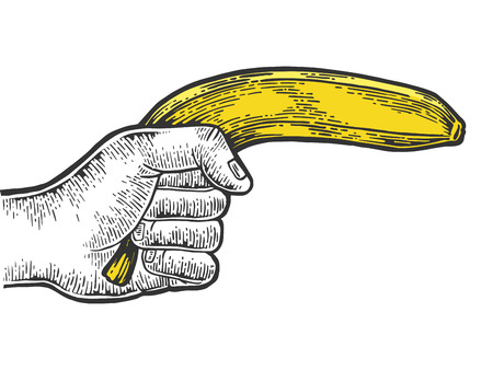 Hand aiming banana as pistol engraving vector illustration. Scratch board style imitation. Black and white hand drawn image.