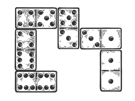 Domino game play bones engraving vector illustration. Scratch board style imitation. Black and white hand drawn image.