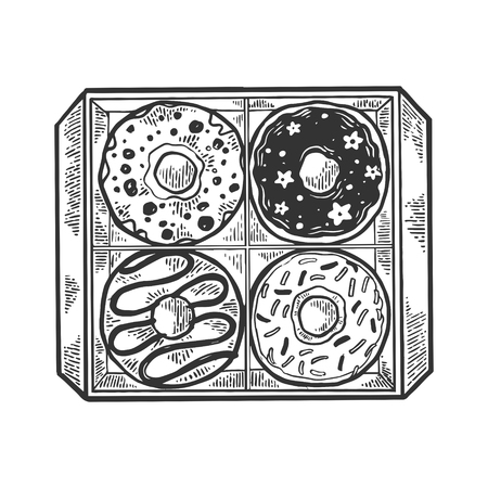 Donut in box engraving vector illustration. Scratch board style imitation. Black and white hand drawn image.