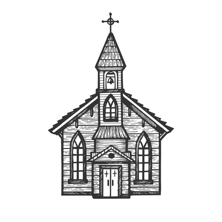 Old wooden church chapel engraving vector illustration. Scratch board style imitation. Hand drawn image.
