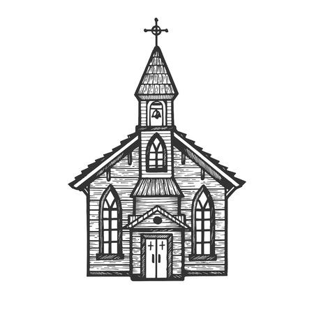 Vecchia chiesa in legno cappella incisione illustrazione vettoriale. Imitazione di stile scratch board. Immagine disegnata a mano.