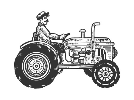 Agricultural tractor engraving vector illustration. Scratch board style imitation. Black and white hand drawn image.