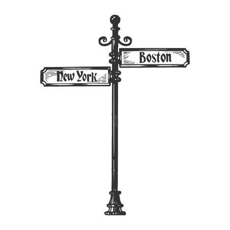 Old american urban road signpost pointer vector illustration. Scratch board style imitation. Black and white hand drawn image.