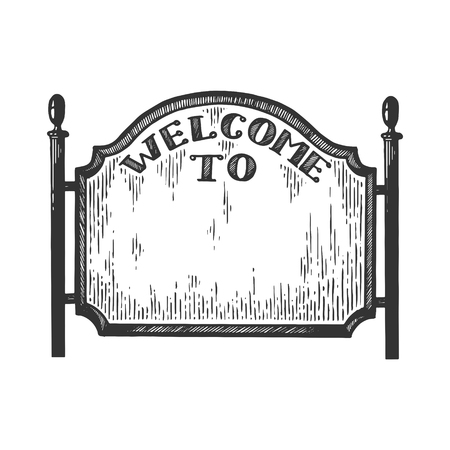 City welcome road sign vector illustration. Scratch board style imitation. Black and white hand drawn image. Illustration