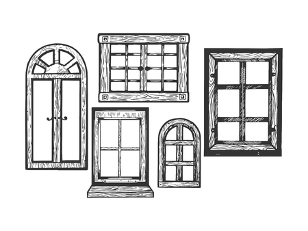 House wooden old windows engraving vector illustration. Scratch board style imitation. Black and white hand drawn image. Ilustração