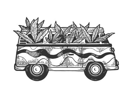 Minibus van avec illustration vectorielle de cannabis feuille de cannabis gravure. Imitation de style planche à gratter. Image dessinée à la main en noir et blanc. Vecteurs