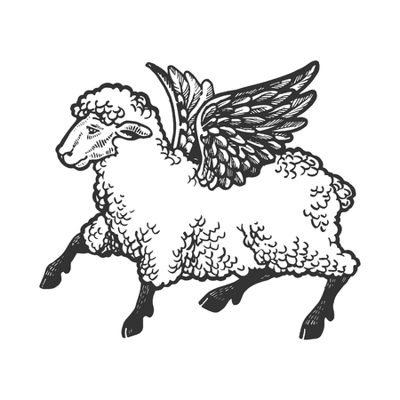 Angel flying sheep engraving vector illustration. Scratch board style imitation. Black and white hand drawn image. Çizim