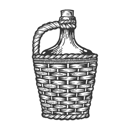 Wine bottle carboy with basket and handle weaving engraving vector illustration. Scratch board style imitation. Hand drawn image.