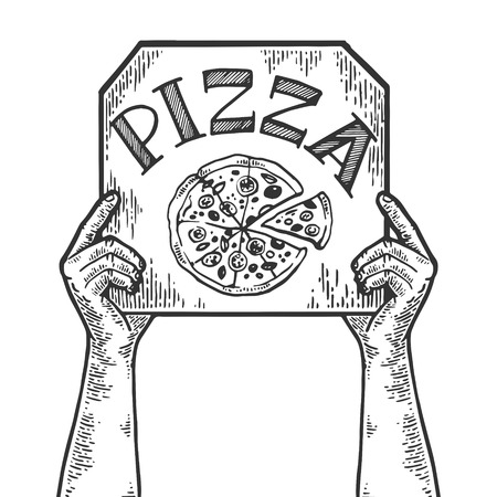 Hands with pizza box engraving vector illustration. Scratch board style imitation. Black and white hand drawn image. Banque d'images - 124033388