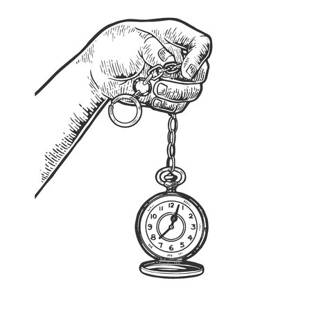 Old fashioned vintage clock watch engraving vector illustration. Scratch board style imitation. Black and white hand drawn image.