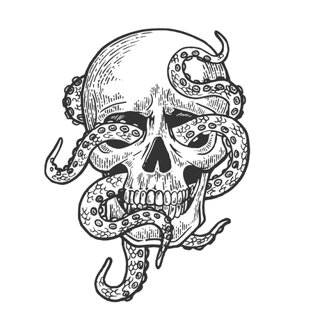 Octopus in human skull engraving vector illustration. Scratch board style imitation. Black and white hand drawn image.