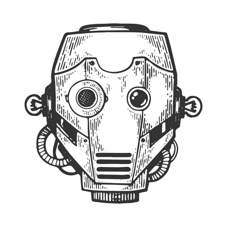 Cyborg robot metal head engraving vector illustration. Scratch board style imitation. Black and white hand drawn image.