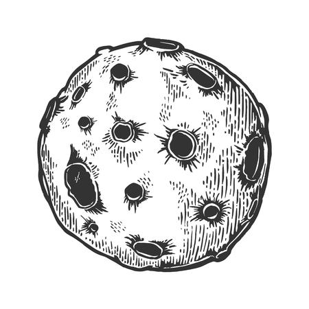 Planeta con meteorito asteroide planeta cráter de impacto grabado ilustración vectorial. Imitación de tablero de rascar. Imagen dibujada a mano en blanco y negro.