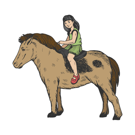 Child girl ride on pony color engraving vector illustration. Scratch board style imitation. Hand drawn image.