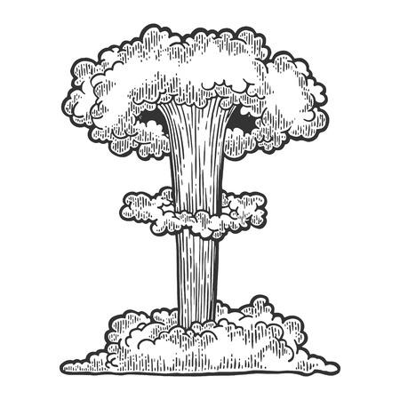 Illustrazione d'annata di vettore dell'incisione di esplosione della bomba nucleare. Imitazione di stile scratch board. Immagine disegnata a mano in bianco e nero. Vettoriali